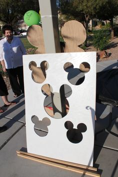 Bean bag toss game for mickey mouse party. Make points for different holes