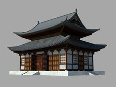 Japanese Temple - Game Ready Model by Ivan Ivanov, via Behance Ancient Chinese Architecture, Japanese Buildings, China Architecture, Temple Architecture, Futuristic Architecture, Architecture Office, Japanese Temple, Japanese House, Building Concept