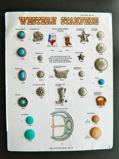 """Salesman's Sample Card JHB Buttons """"Western Stampede"""" Collectible Boots Conchas"""