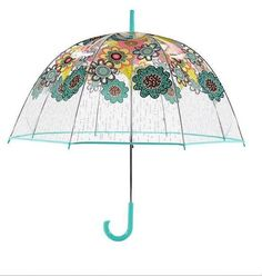 VERA BRADLEY Flower Shower BUBBLE UMBRELLA Summer Clear Rain Day Gear NEW $40