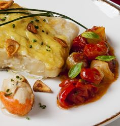 La cocina de Frabisa: Bacalao al pil pil con vieiras y compota de tomates