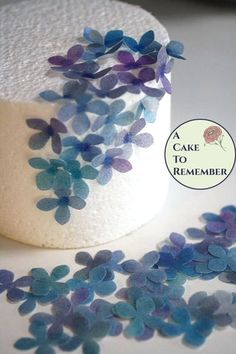 50 solid color edible flowers and decorations, wafer paper flowers for cake decorating, wedding cake toppers, rice paper hydrangeas