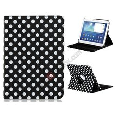 360 Degree Rotation Polka Dot Faux Leather Case with Stand for Samsung Galaxy Tab3 P5200 10.1 Tablet PC  - Black US$13.99