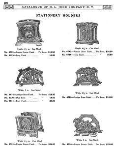 H L JUDD CO., N.Y. cast metal stationery holders, Catalogue No. 50, January 1913, pg. 290. bulldog, Neoclassical, Art Nouveau, automobile, Native American, camel