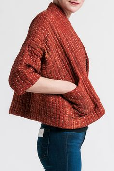 Raga Designs Cotton Kantha Bonita Jacket in Rust Red | Santa Fe Dry Goods & Workshop #raga #ragadesigns #jacket #coat #cotton #kantha #cropped #petite #clothing #fashion #style #santafe #santafedrygoods