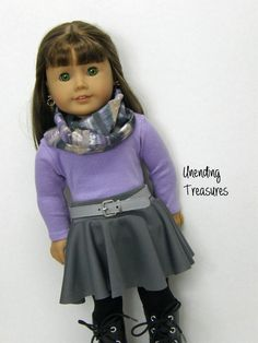 American Girl doll clothes, 18 inch doll clothes, American Girl clothes, lilac top, grey skater skirt, grey belt, and infinity scarf by Unendingtreasures on Etsy