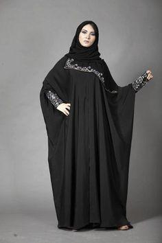 Black Abaya with Embroidery Sleeve Modern Trend – Girls Hijab Style & Hijab Fashion Ideas