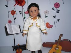 Doll clothes Mariachi suit ivory pearl gold trim w boots fits 18 in like American Girl custom made Mariachi Suit, Caber, Pearl Color, Line Jackets, Doll Patterns, Lace Up Boots, Pearl White, Doll Clothes, Dress Up