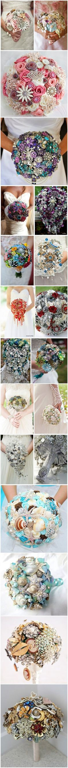 TOP 20 Chic Brooch Wedding Bouquets I once did a wedding where this was the bouquet. Super heavy, but still my favorite bouquet ever. Broach Bouquet, Wedding Brooch Bouquets, Bride Bouquets, Pink Bouquet, Purple Bouquets, Bridesmaid Bouquets, Peonies Bouquet, Flower Bouquets, Bridesmaids