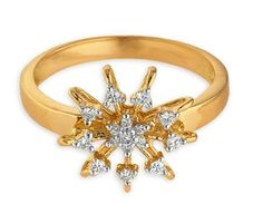 Ladies – that's a Simple & Sweet design, I tell you! Center of ring is set with cluster of diamond, helped by  side diamonds. What a big look of the  ring; Also watch out empty space left on outer side of the ring – helps by making it light wt.  ~Making    Diamond ring is made in 18kt yellow gold 3.30 grams. Diamonds used in are total 0.15 carat & each stones is 0.01 cents. Even ring made in light wt. also but..... Gold Diamond Rings, Gold Rings, Indian Jewelry, Jewelry Design, Rose Gold, Engagement Rings, Jewellery, Empty, Diamonds