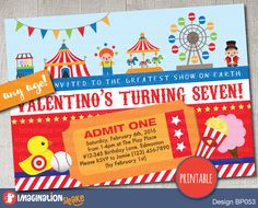 Personalized Carnival Circus Amusement Park Birthday Party Invitation PRINTABLE DIY / Carnival Birthday / Theme Park Invite / Custom Invite - pinned by pin4etsy.com