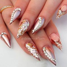 Rose Gold Nails With Rhinestones And Studs picture 3
