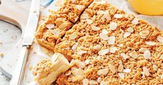 Apple and Custard Streusel Slice A sugary crumbed coating and sprinkling of roasted flaked almonds add texture and sweetness to this gooey apple slice. Custard Slice, Apple Custard, Custard Cake, Sweets Recipes, Baking Recipes, Snack Recipes, Bar Recipes, Yummy Recipes, Recipies