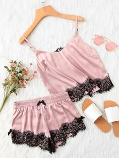 Lace Applique Satin Cami & Shorts PJ SetFor Women-romwe