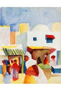 August Macke: Tunis market, 1914