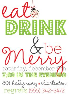 Eat, Drink and Be Merry Holiday Party Invite (20 printed)