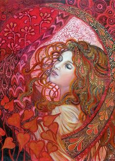 A whole lotta red!  Aphrodite- Art Nouveau Love Goddess by Emily Balivet