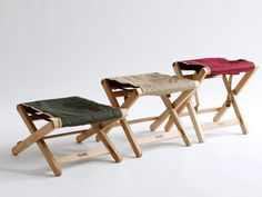 Tick Tuck Stool(オリーブ・ベージュ・バーガンディ) W310 D250〜430 H250〜400mm(収納時 W510 H375 D45mm) 各¥13,000 Peregrine Furniture