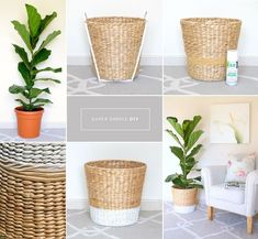DIY planter for fiddle leaf fig tree - Pflanzen Ideen Basket Planters, Diy Planters, Plant Basket, Baskets For Plants, Large Outdoor Planters, Tree Planters, Planter Pots, Wicker Planter, Rope Basket