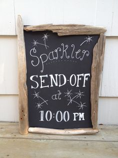 Sparkler send off chalkboard sign, driftwood frame, nautical, rustic, beach house decor, wedding signage
