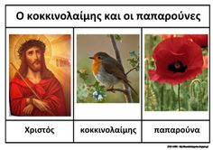 """The poppies and the robin"""", an Easter story, ideas and worksheets for kindergarten."""