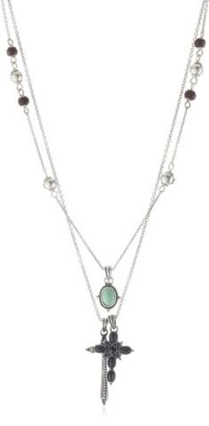 """Lucky Brand Cross Turquoise-Color Charm Necklace, 18"""" Lucky Brand http://smile.amazon.com/dp/B002LASC1Q/ref=cm_sw_r_pi_dp_O6v0tb0F1HSB9CDW"""
