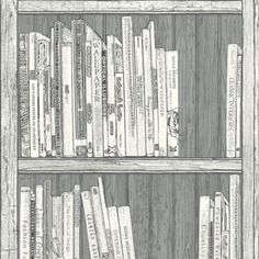 Bookcase Wallpaper in Grey and White with a Textured finish by Statement