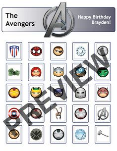 Bingo Avengers Birthday Party Game Cards. $5.00, via Etsy.