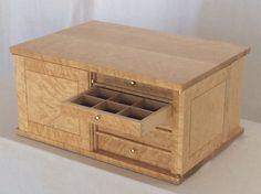 Birdseye maple jewelry storage cabinet with locks and ten drawerss Locking Storage Cabinet, Storage Chest, Box Storage, Jewelry Cabinet, Jewelry Armoire, Jewelry Box, Cabinet Dimensions, Birdseye Maple, Solid Doors