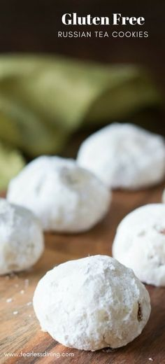 These gluten free Russian tea cookies are a buttery treat. Easy gluten free cookie recipe. How to make Russian tea cookies. Gluten free Russian tea cookie recipe. Recipe at www.fearlessdining.com #russianteacookies #holidaycookies #glutenfree #glutenfreecookies #glutenfreeteacookies #almond via @fearlessdining
