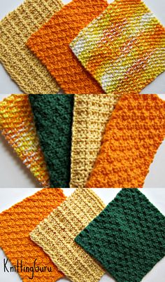 6 Eco Autumn Dishcloths Pattern. Learn 6 different stitches. Other colorways suggested and shown. Very easy knitting. Fast to make. Great for decorating your house and for gifts.