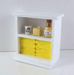 Dolls House Miniature Furniture Small Shelf Unit Lemon Bathroom Accessories