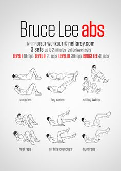 No-equipment Bruce Lee ab workout. Print & Use.