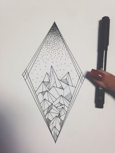 Mountains of stipples and lines