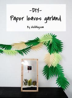 DIY Paper Leaves Garland - make a paper leaves garland in 30 minutes. A great decorating idea for a Dinosaur Party! Jurassic Park Party, Dinosaur Birthday Party, 3rd Birthday Parties, Dinosaur Party Games, Birthday Ideas, Elmo Party, Mickey Party, Third Birthday, Ideas Decoracion Cumpleaños