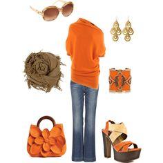 """orange"" by rachelann34 on Polyvore"