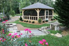 Timber Frame Pavilion - Timber Frame Outdoor Living - Screened Porch - Timber Frame Privacy Fence - Homestead Timber Frames - Crossville Tennessee