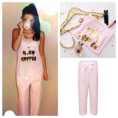 How I'm feeling this morning! 😴 Love our 'I Need Coffee' in gold print paired with our 'Satin Bow Tie Lounge Pants' 🎀💕 Icon Clothing, Gold Print, Lounge Pants, Tgif, Capri Pants, Jumpsuit, Satin, Bows, Coffee