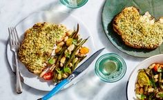 Sheet Pan Herb-Crusted Cauliflower Steaks with White Beans and Green Beans Recipe / Photo by Chelsea Kyle, Food Styling by Katherine Sacks