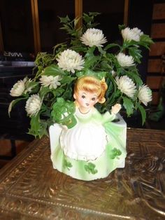 Vintage Relpo Lady Irish St. Patrick's Day Green Planter A1192 Japan