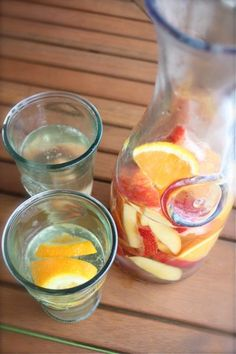 Saturday Sangria.  One bottle of white wine plus 1/4 cup orange liqueur and sliced fruit.