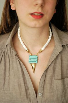 Rope Necklace N8 Turquoise Gemstone Necklace Tribal by oliki, $40.00