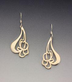Art Nouveau Iris Earrings.