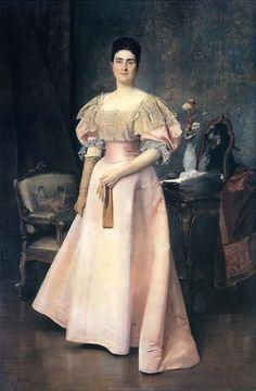 Portrait of a Lady in Pink by Václav Brožík, 1894 France or Austria-Hungary
