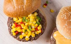 Give your burger a bite with this zippy corn and pepper topping. Stack it with American cheese, fried onions (like French's) and coleslaw. Or, try a Roasted Tomato-Bacon Jam or Beer Cheese Sauce.