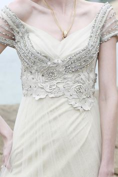 Silver Floral Beaded White Gowns