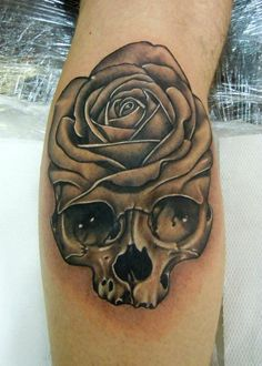 Rose on a Skull Tattoo