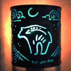 Bear - night light - Recycled tin can freehand torch cut metalwork from New Mexico on Etsy, $25.00