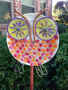Glass Plate Garden Art / Owl Garden by Urbanlollipopgifts on Etsy, $35.00