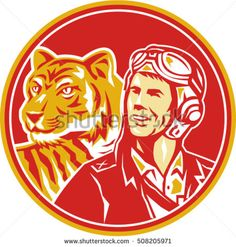 Illustration of a world war two pilot airman aviator and tiger looking to the side set inside circle done in retro style.  #pilot #retro #illustration